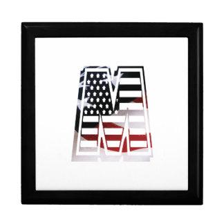 Letter M Monogram Initial Patriotic USA Flag Gift Box