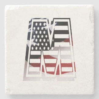 Letter M Monogram Initial Patriotic USA Flag Stone Coaster