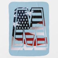 Letter M Monogram Initial Patriotic USA Flag Stroller Blanket