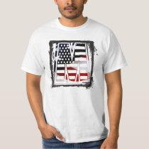Letter M Monogram Initial Patriotic USA Flag T-Shirt