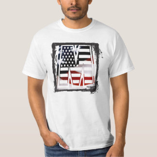 Letter M Monogram Initial Patriotic USA Flag T-Shirt