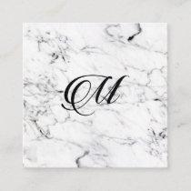 Letter M monogram Marble texture Enclosure Card
