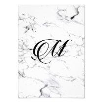 Letter M monogram Marble texture Invitation