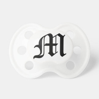Letter M Old English Text on White Background Pacifier