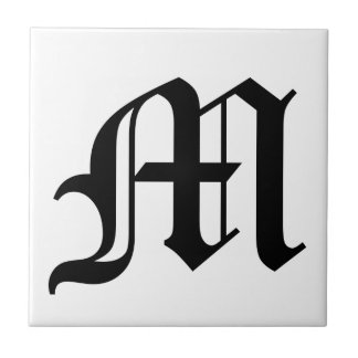 Letter M Old English Text on White Background Ceramic Tiles
