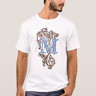 """Letter """"M"""" Ornate Decorative Floral Ladies Shirt"""