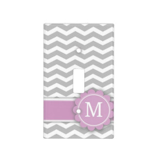 Letter M Pink Monogram Grey Chevron Switch Plate Cover