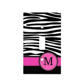 Letter M pink Monogram Zebra stripe Light Switch Plates