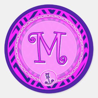 Letter 'M' Pink Nautical Chevron w/ Anchor  - Classic Round Sticker