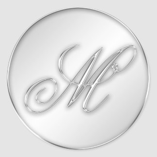 Letter M script initial faux silver monogram favor Classic Round Sticker