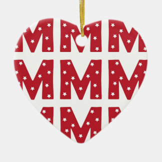 Letter M - White Stars on Dark Red Ceramic Ornament