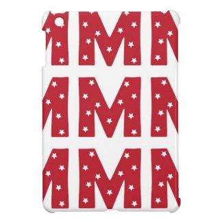Letter M - White Stars on Dark Red Case For The iPad Mini