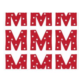 Letter M - White Stars on Dark Red Postcard
