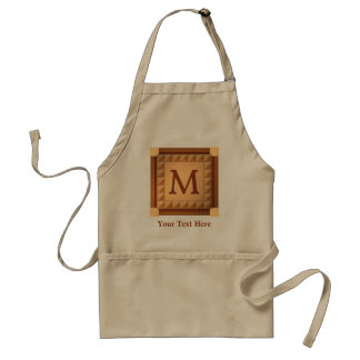 Letter M: Wood Look Initial with Custom Text Adult Apron