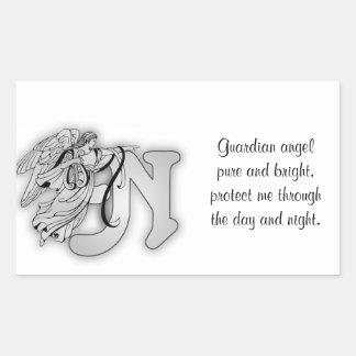 Letter N angel monogram alphabet initial Rectangle Sticker