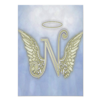 Letter N Angel Monogram Card