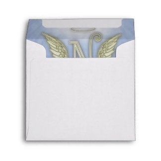 Letter N Angel Monogram Envelope