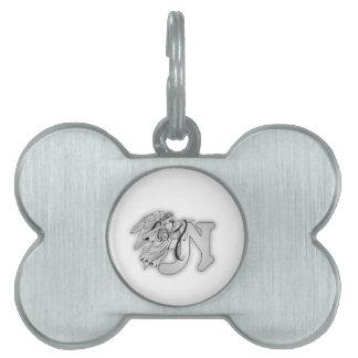Letter N Angel Monogram Initial Pet Name Tag