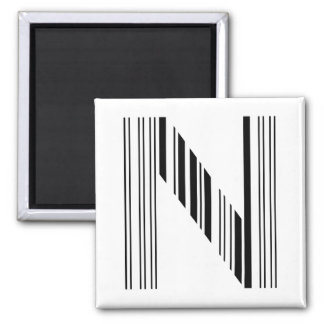 LETTER N BAR CODE First Initial Barcode Pattern 2 Inch Square Magnet