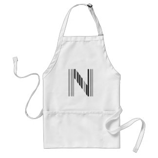 LETTER N BAR CODE First Initial Barcode Pattern Adult Apron