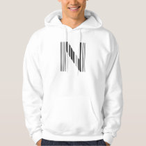 LETTER N BAR CODE First Initial Barcode Pattern Hoodie