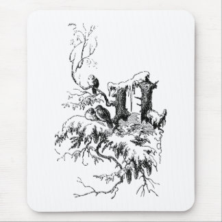 Letter N, Birds and Snow Mouse Pad