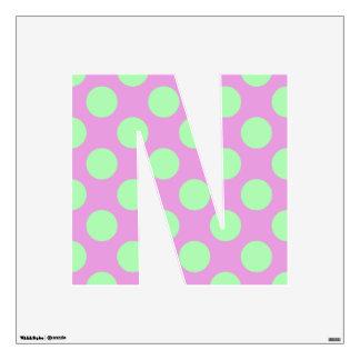 letter N cute kawaii polka dots shabby chic medium Wall Decal