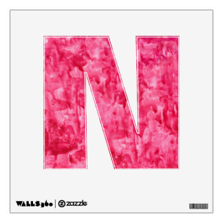 """Letter """" N """" Decal - Red Watercolor Paint"""