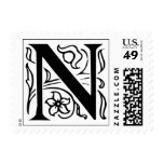 Letter N Fancy Initial Postage Stamps