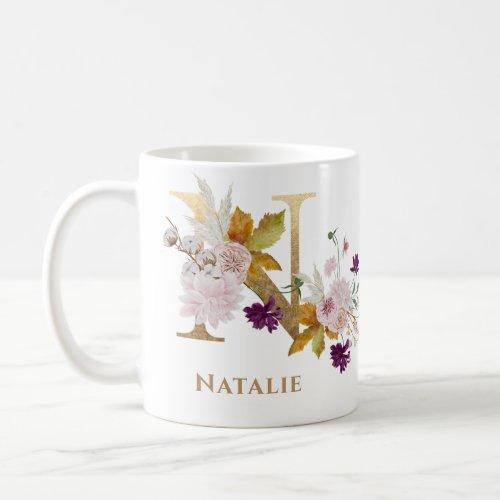 Letter N _ Gold Floral Name sister coworker friend Coffee Mug