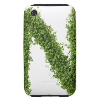 Letter 'N' in cress on white background, Tough iPhone 3 Cover