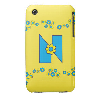 Letter N in Flores Blue Monogram Case-Mate iPhone 3 Cases