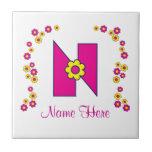 Letter N in Flores Pink Monogram Ceramic Tile