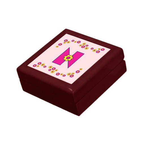 Letter N in Flores Pink Monogram Gift Box