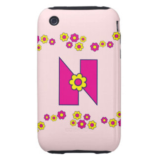 Letter N in Flores Pink Monogram Tough iPhone 3 Case