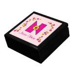 Letter N in Flores Pink Monogram Trinket Boxes