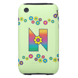 Letter N in Flores Rainbow Monogram Tough iPhone 3 Covers
