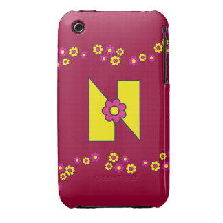 Letter N in Flores Yellow Monogram iPhone 3 Case-Mate Case