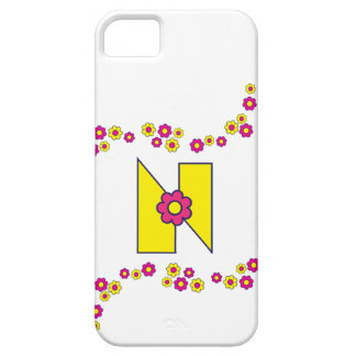 Letter N in Flores Yellow Monogram iPhone SE/5/5s Case