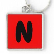 letter N, initial , abecedario popular key chain