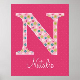 Letter N Initial Alphabet Poster for Girl