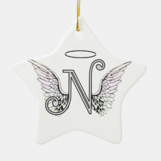 Letter N Initial Monogram with Angel Wings & Halo Ceramic Ornament