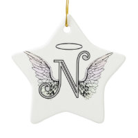 Letter N Initial Monogram with Angel Wings & Halo Christmas Ornament