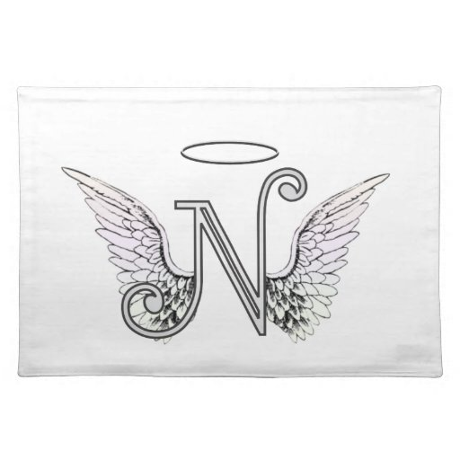 Letter N Initial Monogram With Angel Wings amp Halo Placemat