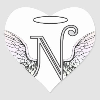Letter N Initial Monogram with Angel Wings & Halo Heart Sticker