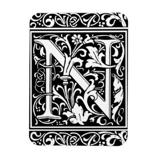 Letter N Medieval Monogram Vintage Initial Rectangular Photo Magnet