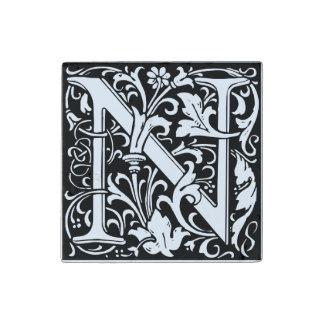 Letter N Medieval Monogram Vintage Initial Stone Magnet