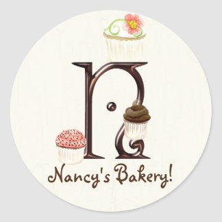 Letter N Monogram Cupcake Logo Business Stickers