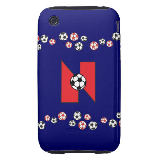 Letter N Monogram in Soccer Red Tough iPhone 3 Case