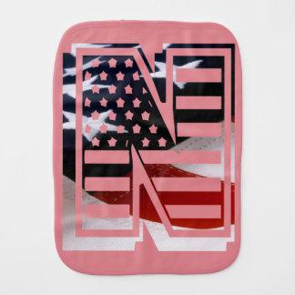 Letter N Monogram Initial Patriotic USA Flag Burp Cloth